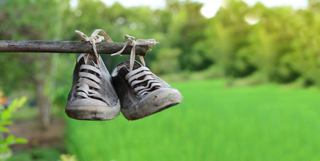 an old stainly shoes hang on bamboo bar with green field background