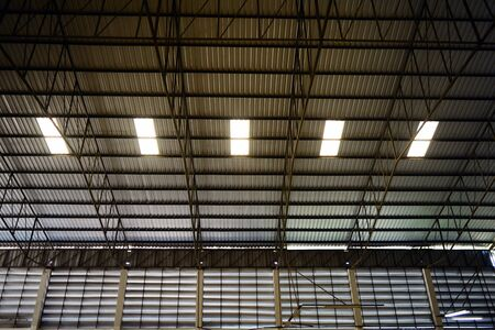 the top roof of the factory with transparent  channel in workday