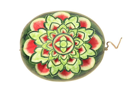 work path: Watermelon Carving isolated on white background with clipping path.