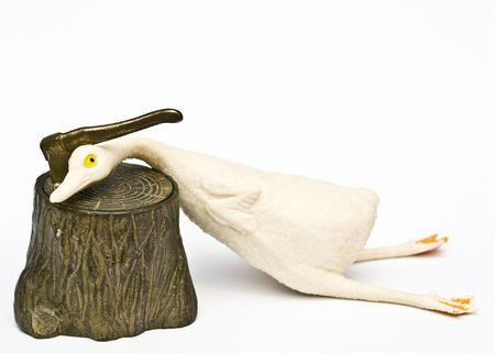 dead duck: ax on a white background