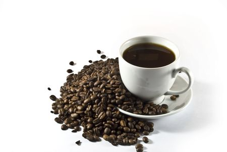 coffeebeans: cup of coffee on a background coffee-beans