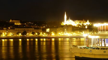 glaring: View of Budapest with the Danube river at night