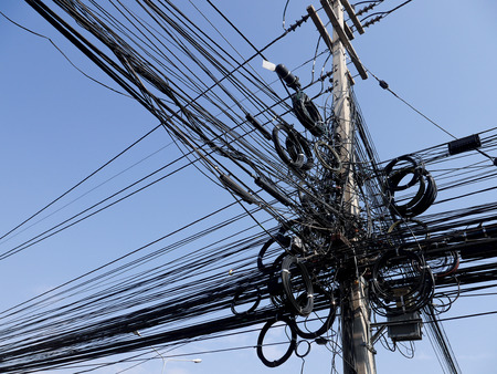 sub station: electric wire Thailand   confuse Stock Photo