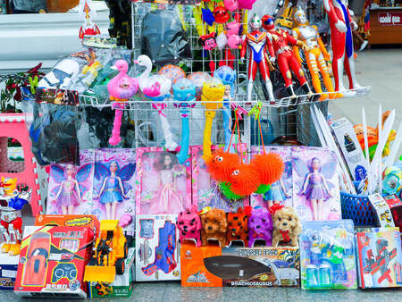merchant: Nakhon Ratchasima Thailand,January 31 2016 - merchant selling various toys at Nakhon Ratchasima city square