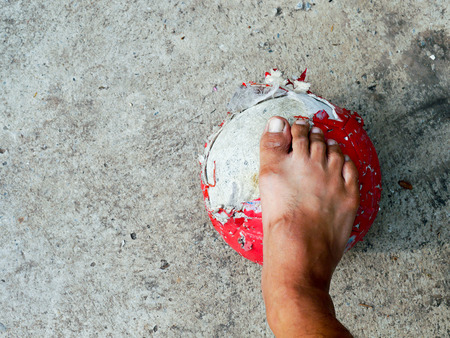 slum boy real Street soccer Without shoes Stock Photo
