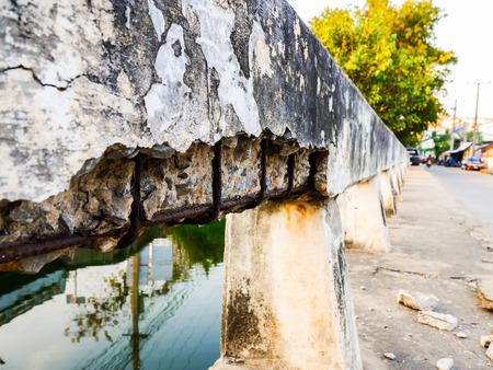 rust in concrete bridge