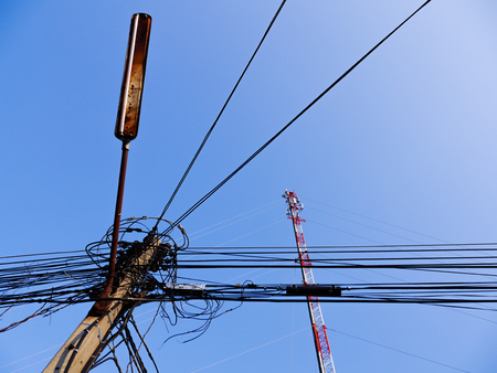 sub station: Electric wire old lighting and radio antenna
