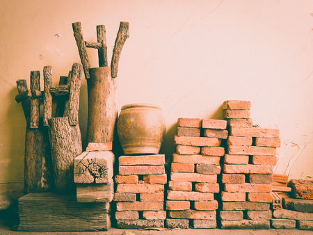 raw materials: Wall of raw materials vintage background Stock Photo