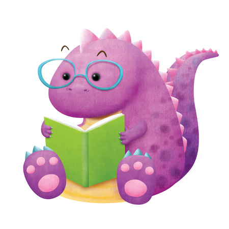 Dinosaur enjoy reading a book