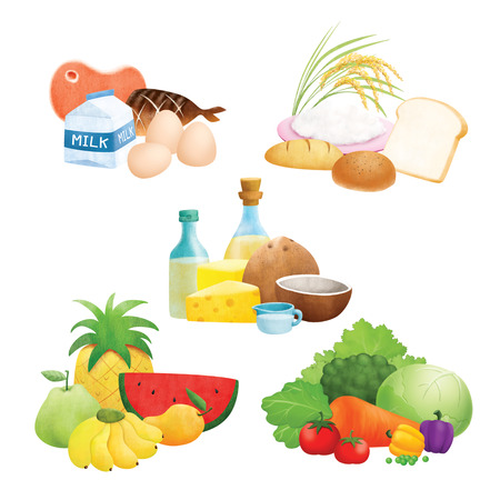 Cinco ilustraciones de grupos de alimentos Foto de archivo - 29011510