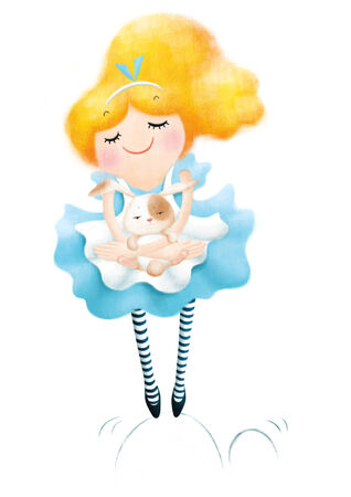 goldy: Alice in wonderland with white rabbit illustration