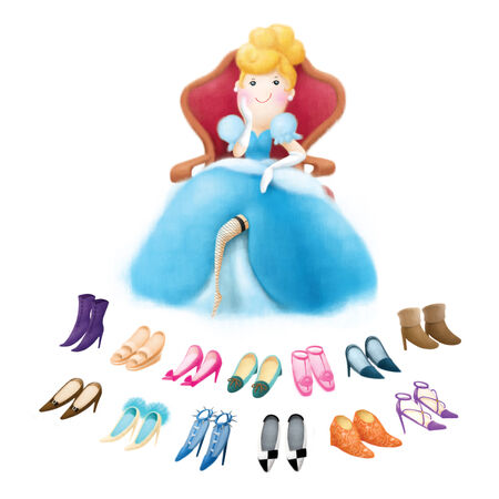 fashion story: cinderella sitting on the chair decide many shoes Stock Photo