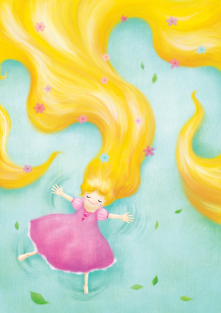 rapunzel relaxing lay down on grass illustration Stock Photo