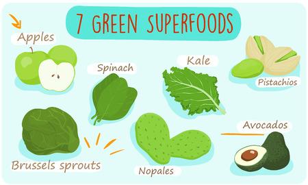 should: 7 green foods you should  be eating   vector illustration Illustration