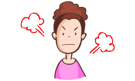 disapprove: angry woman in pink dress vector illustration
