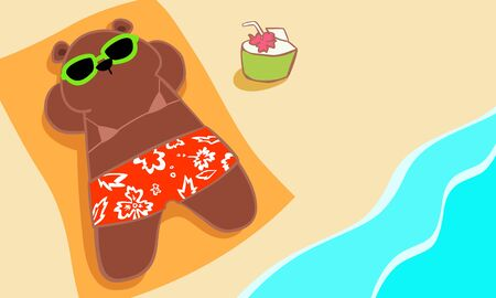 repose: bear sunbathing on the beach vector illustration