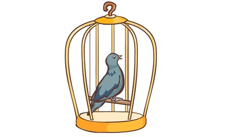 coop: Columbidae bird singing in the cage vector illustration