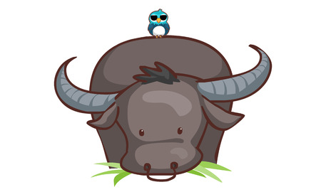 forage: buffalo eating grass and bird vector illustration