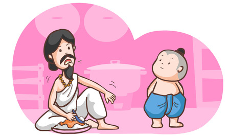 brahman: hungry brahman talk to traditional boy vector illustration