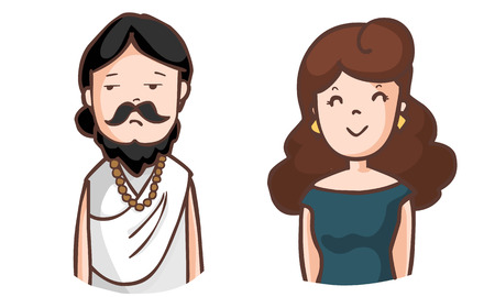 brahman: boring brahman and happy woman vector illustration