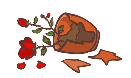 chap: broken red rose pot on the ground vector illustration Illustration
