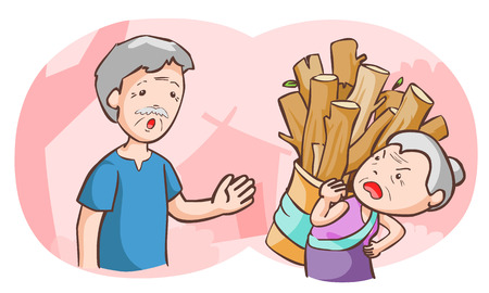 inhibit: elderly couples argue each other vector illustration Illustration