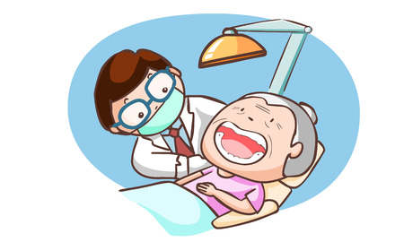 neutralize: dentist treat grandmother in the clinic vector illustration