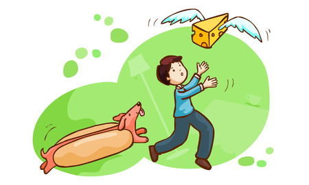 snatch: hot dog chase a man and butter have a wing for fly vector illustration
