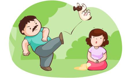 husband kick dog for protect his wife vector illustration