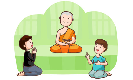 follower: Happy buddhist monk and follower vector illustration