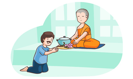 provide: A man offer food to monk vector illustration