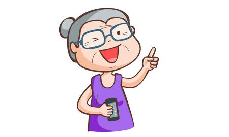 granny love smartphone Illustration