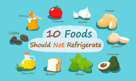 refrigerate: 10 Alimentos ilustraci�n vectorial no deben Refrigere
