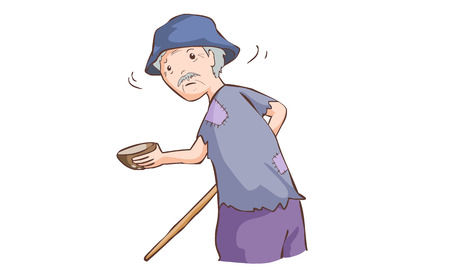 humble: old beggar hold coconut shell and cane in ragged cloth vector illustration Illustration