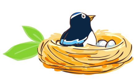 chaume: Oiseau �clore son ?uf dans le nid illustration vectorielle