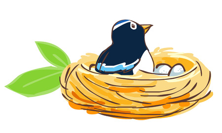 nido de pajaros: P�jaro eclosionan el huevo en el nido ilustraci�n vectorial