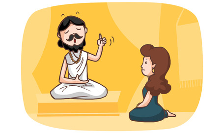 doctrine: Brahman tell the women about mystery story vector illustration