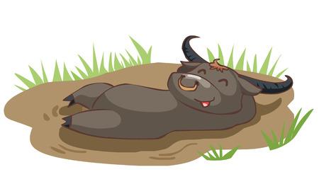 take a bath: happy buffalo take a bath in mud vector illustration