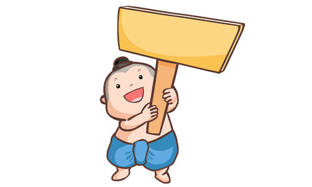 apprise: Thai boy holding a wooden board vector illustration
