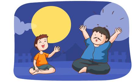 boy tell shock story to a man in full moon night vector illustration Illustration