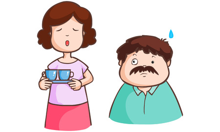 expostulate: Wife complains his husband in living room vecdtor illustration