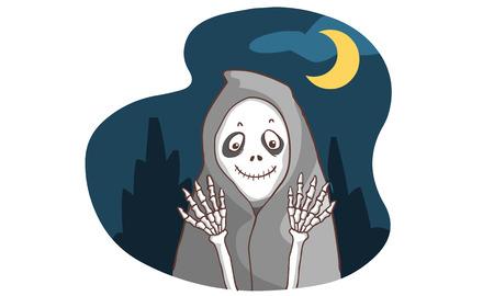 mirk: smiley ghost bone in the dark vector illustration Illustration