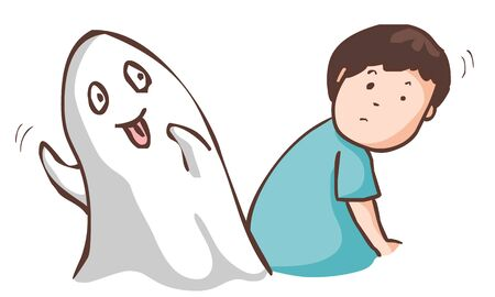 dismay: funny ghost haunt the man vector illustration Illustration