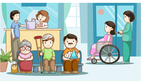 infirmary: Happy people in hospital vector illustration Illustration