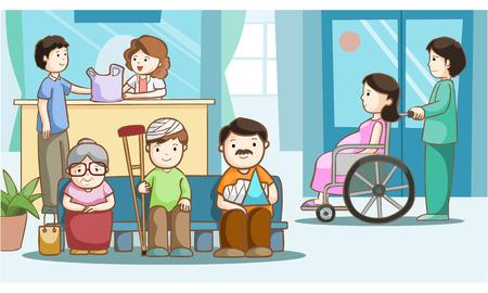 splint: La gente feliz en el hospital ilustración vectorial