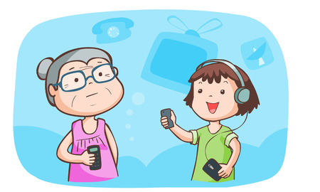 kid talk to grandma talk about gadget vector illustration