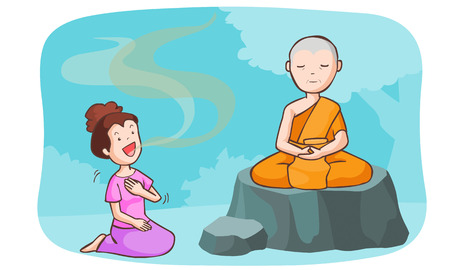 boast: monk take meditate and the women talkative vector illustration
