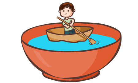 staunch: A man paddle boat in the bowl vector illustration