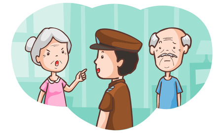 senior lovers at the police station vector illustration Illustration