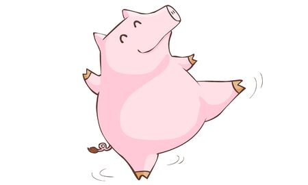 beatific: happy pink pig happy dance cartoon vector illustration Illustration